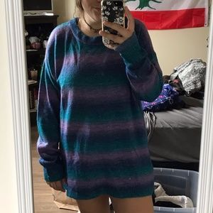 blue and purple striped sweater